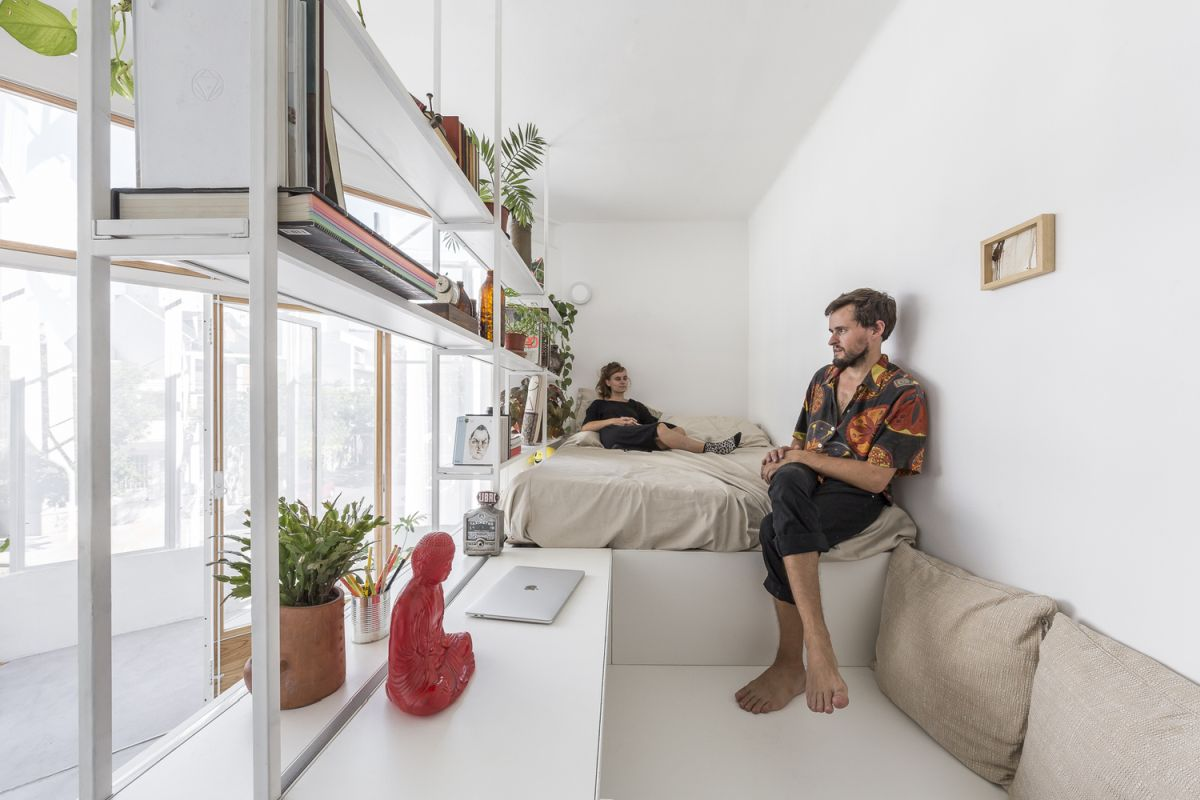 The apartment's small size inspired the architects to be creative when planning the layout