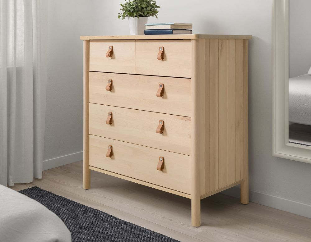 Small dresser from ikea with leather handles