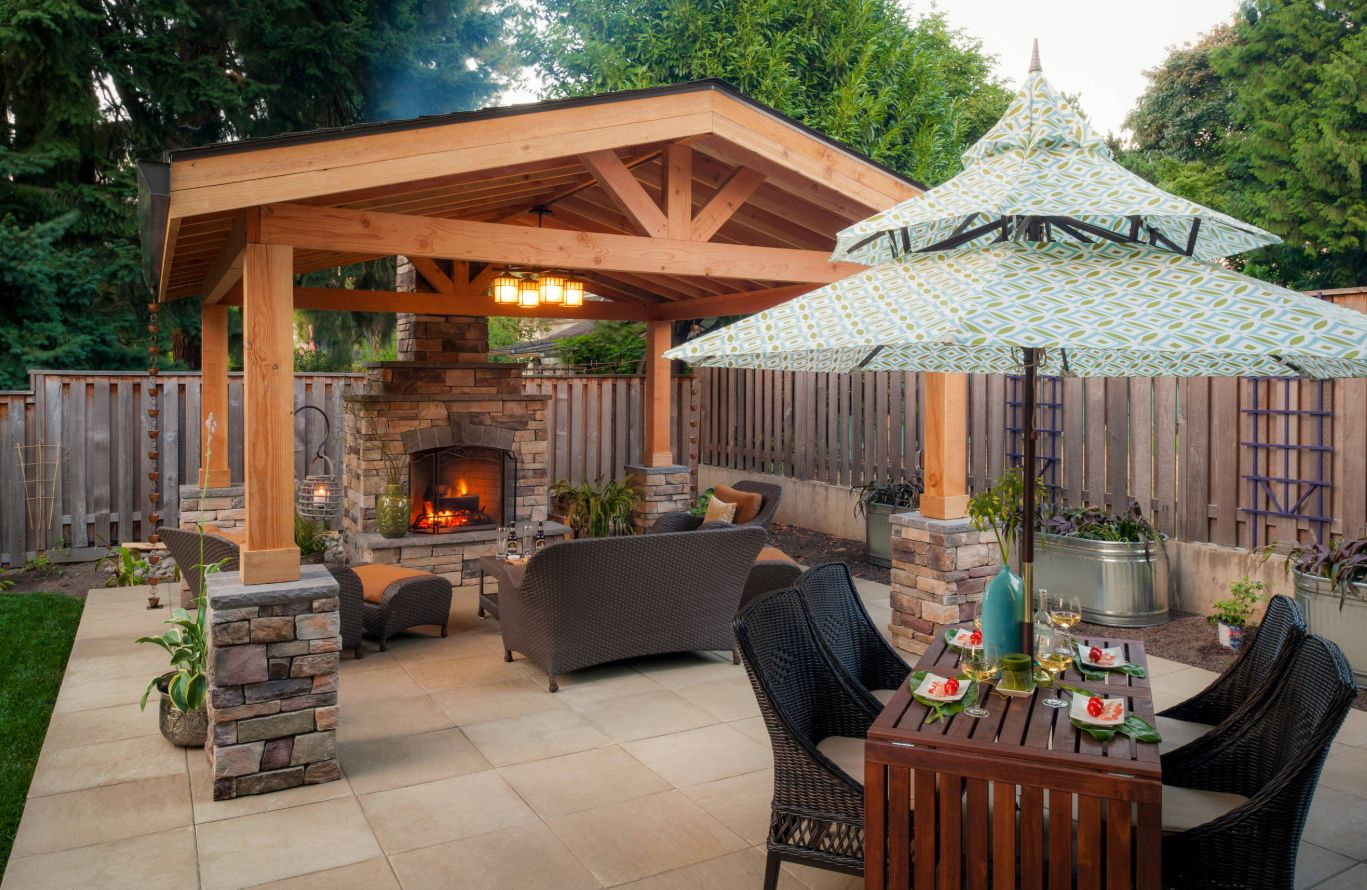 A traditional patio has all the elements for family relaxation.