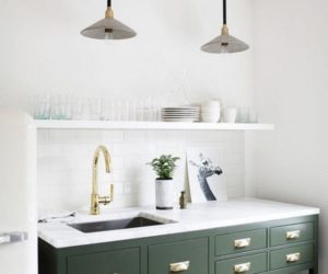 Small green freestanding kitchenette design