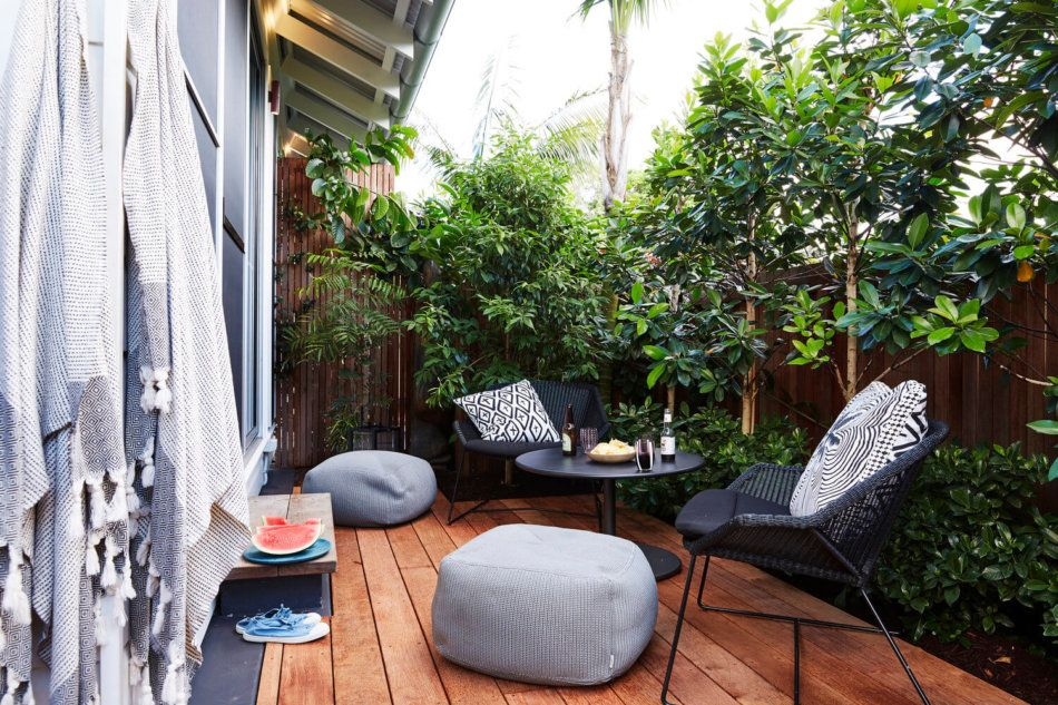 Small and secluded, the patio is a perfect retreat for two.
