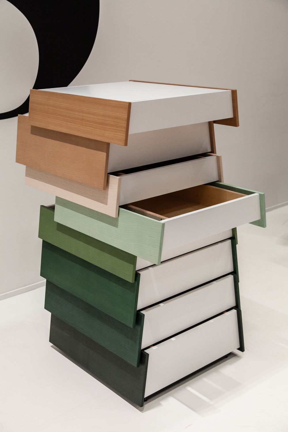 Sculptural chest of drawers with drawers that open in both directions