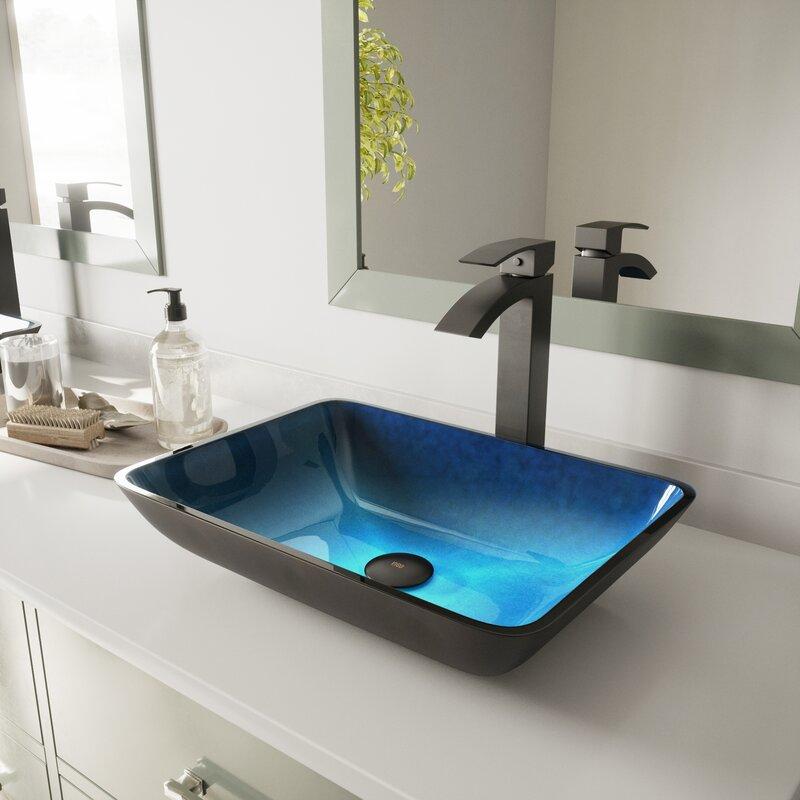 Turquoise water glass handmade vessel sink