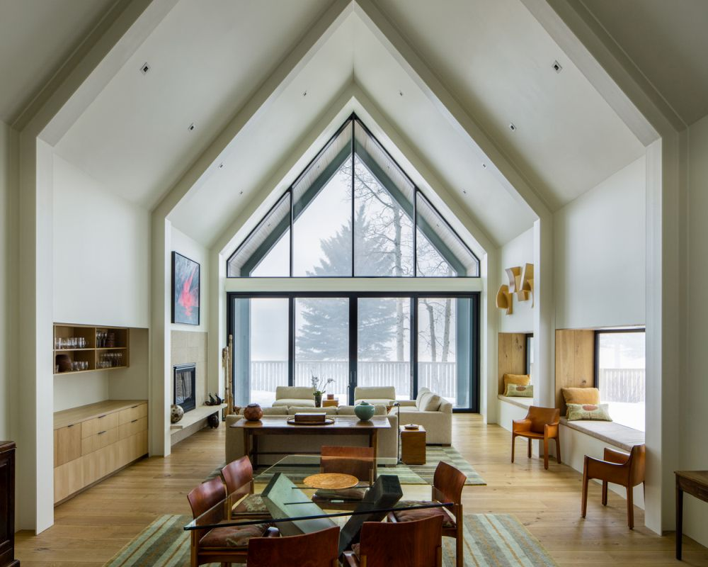 the glazed sides let in lots of natural light and frame the view, bringing the outdoors in