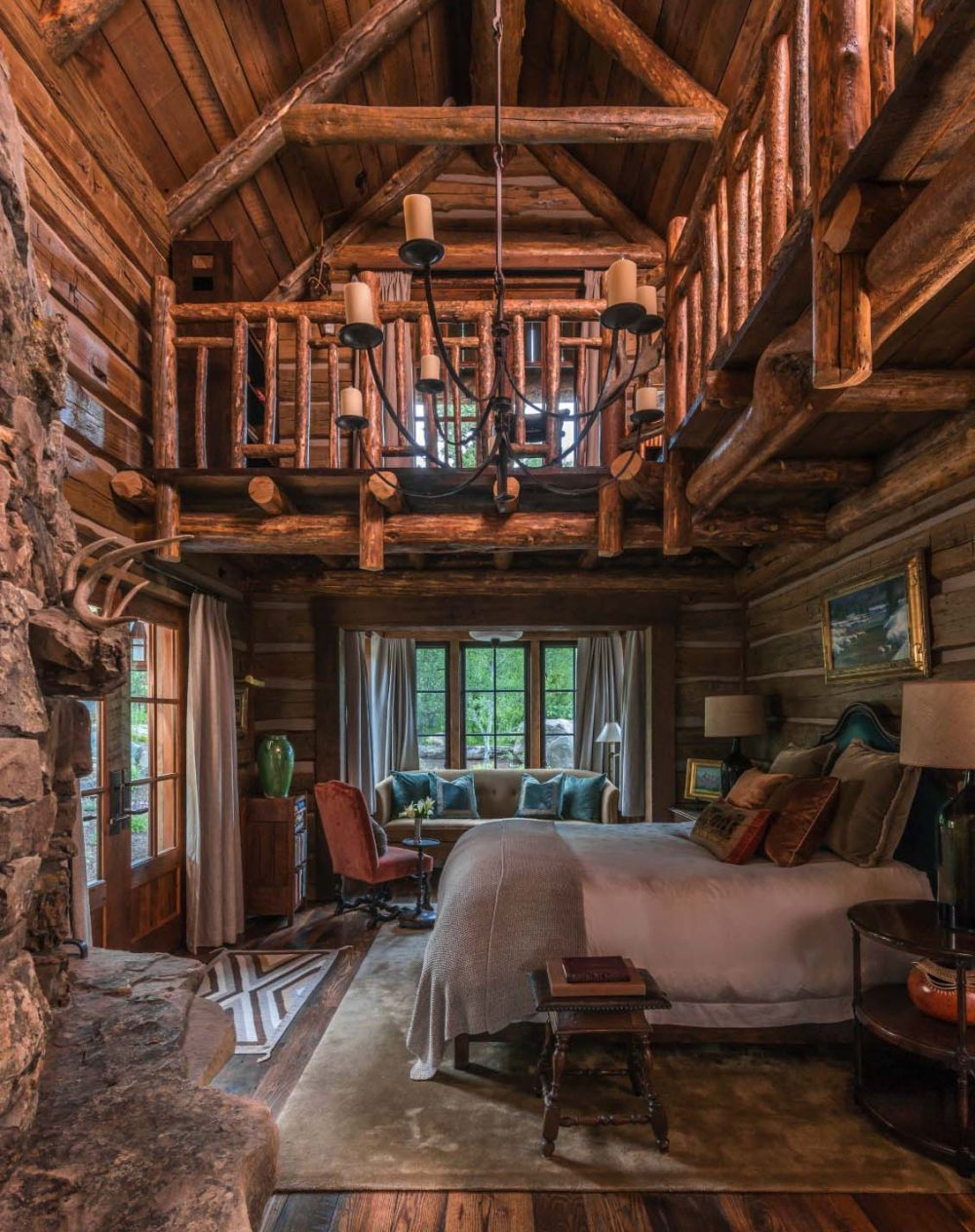 Super rustic interiors need soft furnishings.