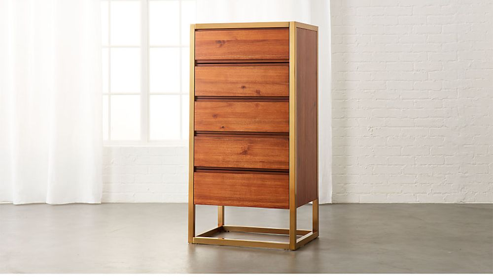 Stylish and compact acacia chest of drawers