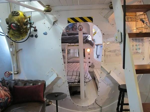 yellow submarine tiny house interior