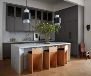Amazing kitchen design with grey cabinets and marble