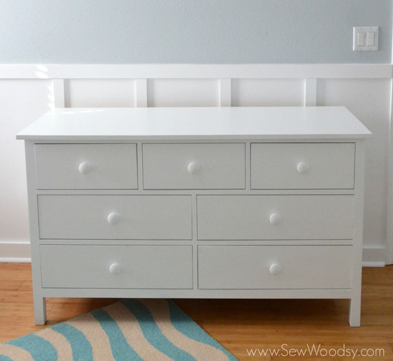 An extra wide chest of drawers for the nursery