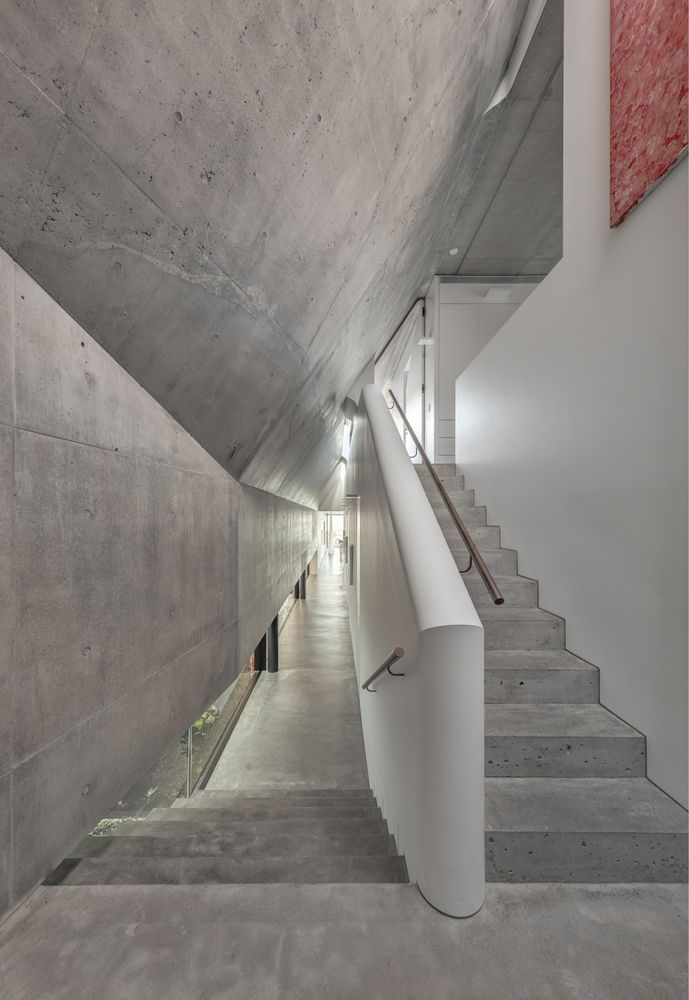 The palette of materials and finishes used throughout is limited to exposed concrete, wood, steel and glass