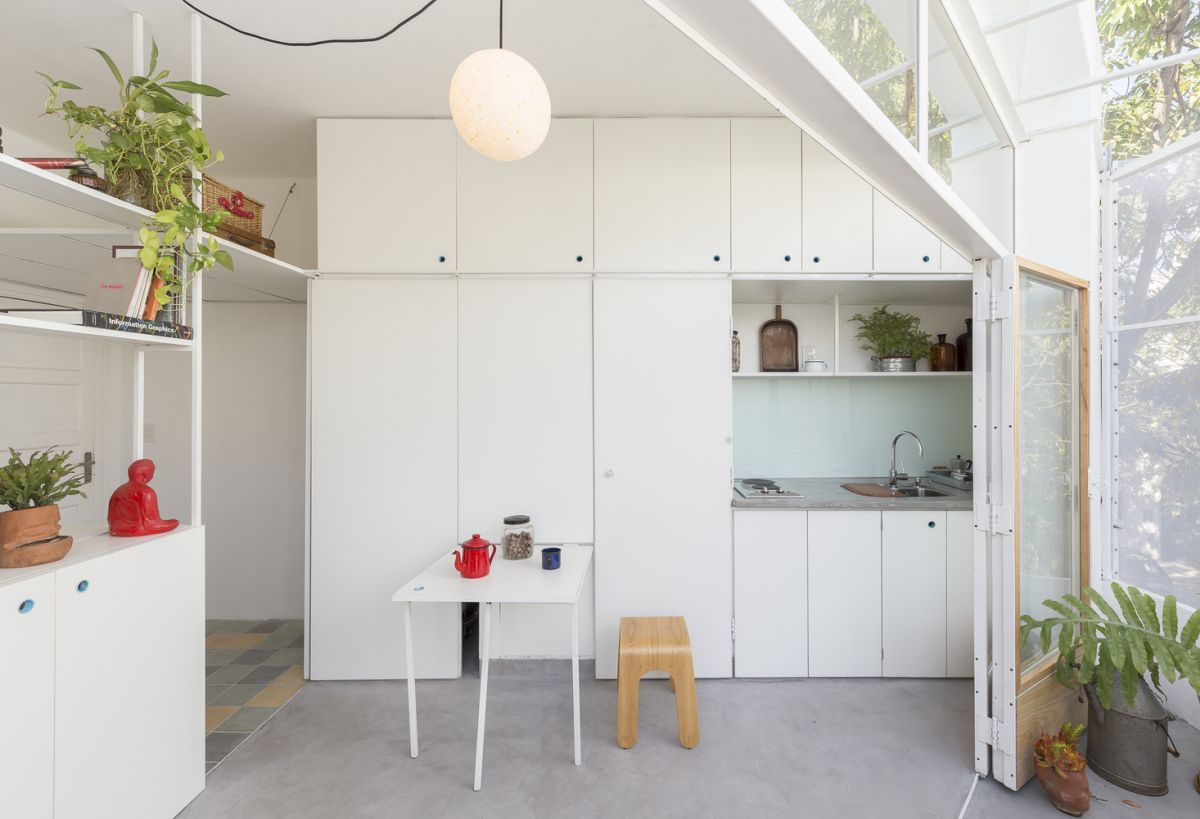 Space-efficient pull-out kitchen table idea
