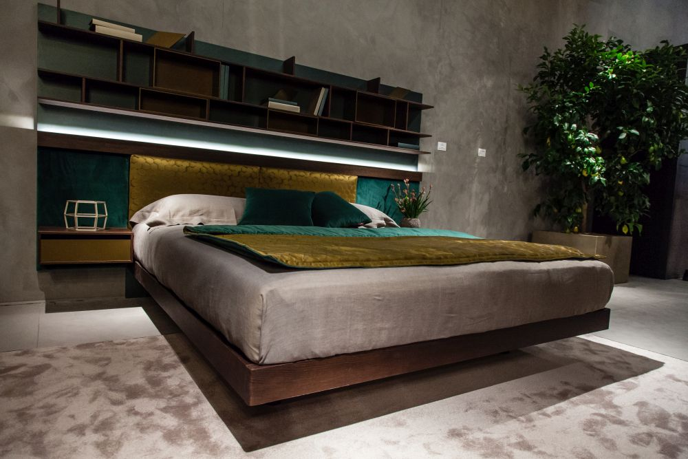 Floating bed with LED lights