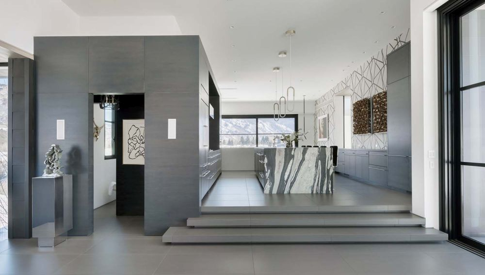 The kitchen is situated slightly higher than the living spaces and this gives it a sense of individuality