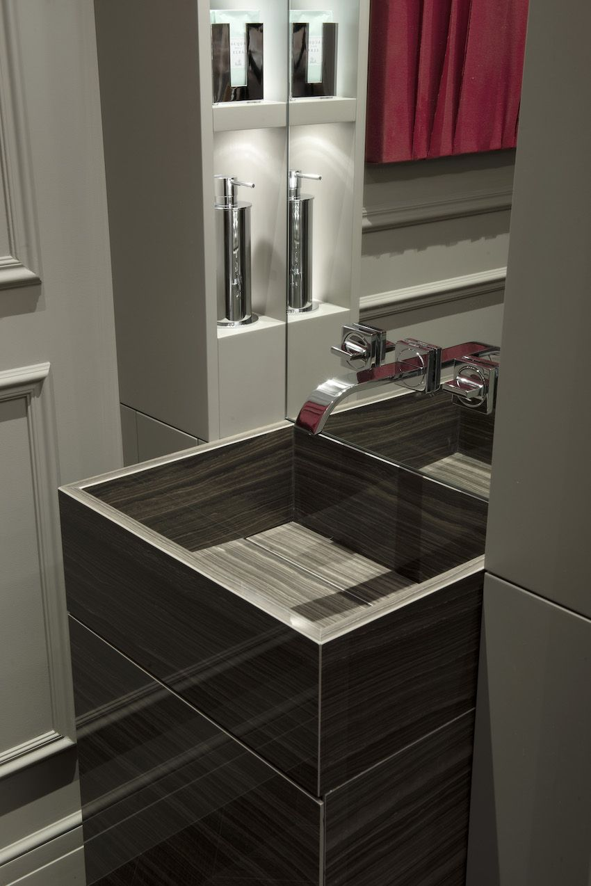 A pedestal vanity can be very modern.