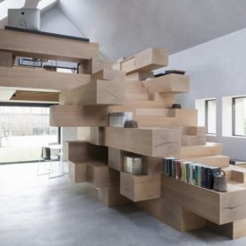 Wood beams used like bookshelf