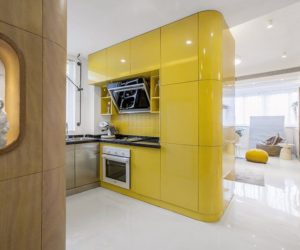 Minimalist yellow kitchen decor