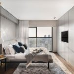 Modern grey bedroom with pendant lamps and floor to ceiling curtain