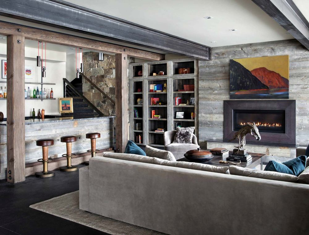 The downstairs living area has its own fireplace as well as a wet bar