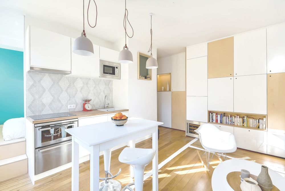 Bright and airy kitchen with a tiny island