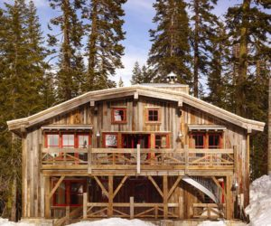 Beautiful Gambrel Roof Ski Cabin Built With Reclaimed Barn Wood