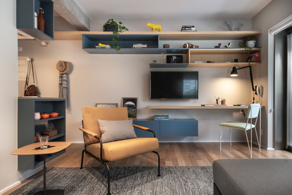 A lot of the furniture elements are multifunctional which is often the case with small apartments