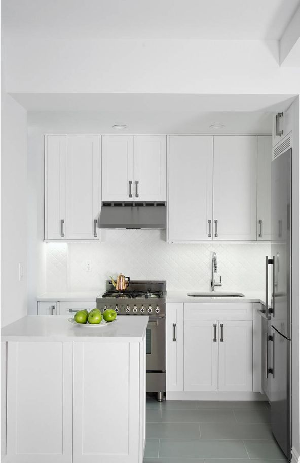 Strategic use of white in a small kitchen