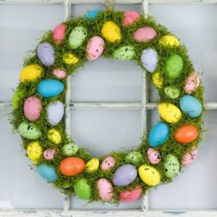 Spring green and egg wreath