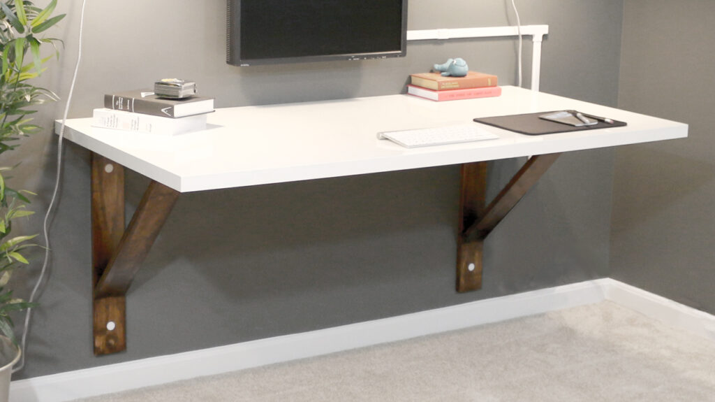 A Brown and White Wood Wall-Mounted Desk