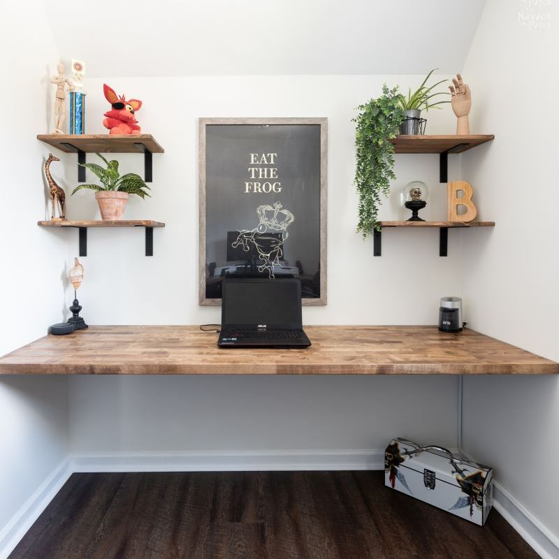 A DIY Floating Wall-to-Wall Desk