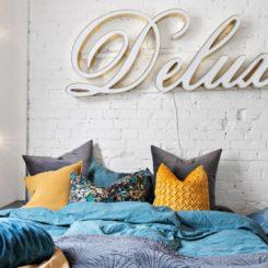 Bedroom White painted Exposed Bricks