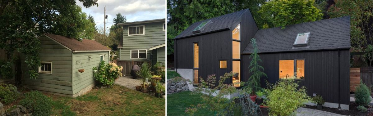 By converting the old garage into a living space the clients offered the grandma a separate place to live that's still very close to them