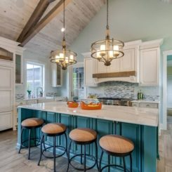 Coastal kitchen island bar with chairs