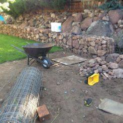 DIY gabion fence