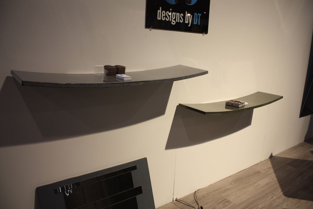 Floating shelves add style and function.