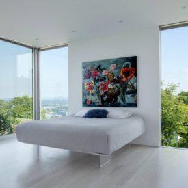 Floating bed frame glass