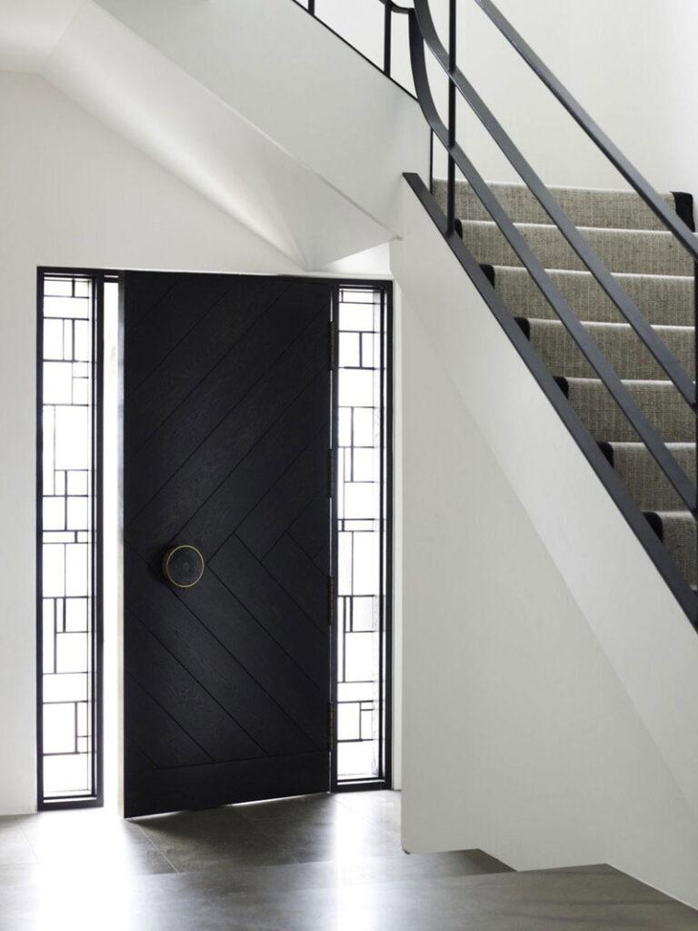 Door With A Herringbone Pattern