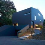 Modern villa with a black facade