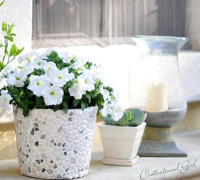 Plant Flowers in a Rock Bucket DIY garden ideas