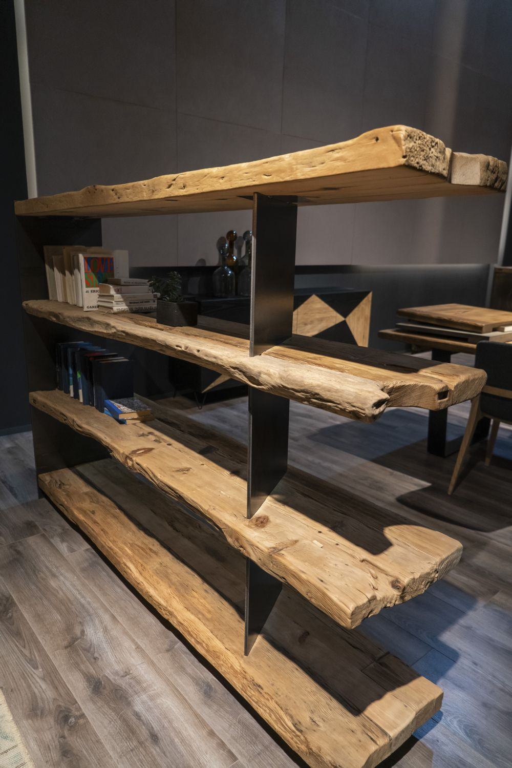 Old wooden planks make a shelving unit with character.