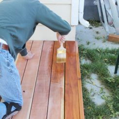 Stain a wood deck for outdoor