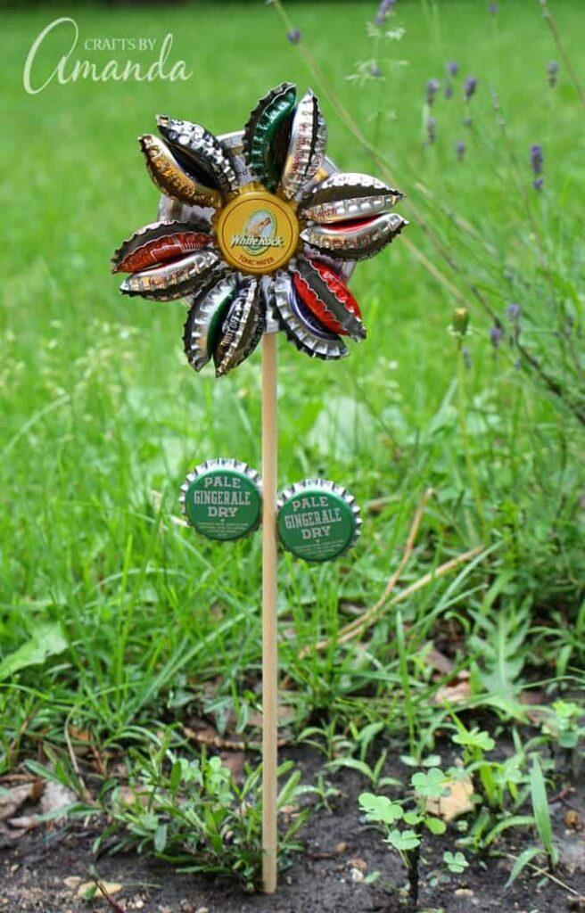 Upcycle Bottle Caps Into a Flower Decoration DIY garden ideas