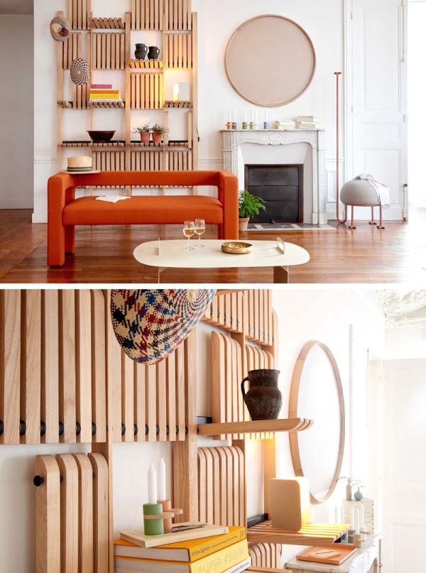 A multifunctional unit with moving shelves