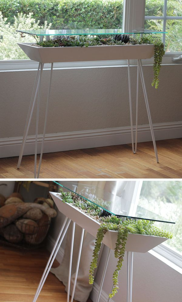 A table that doubles as a planter