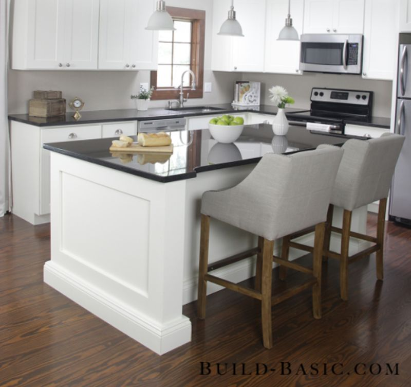 A wooden kitchen island made from scratch