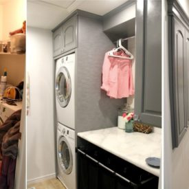 Before and after laundry room renovation