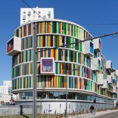 Colorful glass on the Arc En Ciel by Agence Bernard Bühler