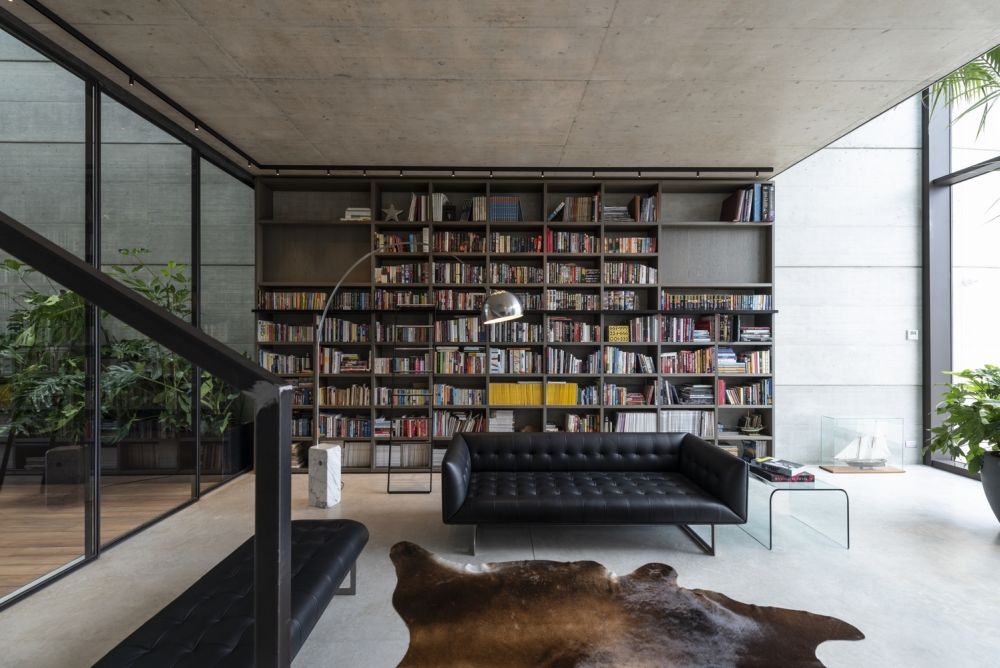 The main living space is situated on the first floor of this four-storey concrete house
