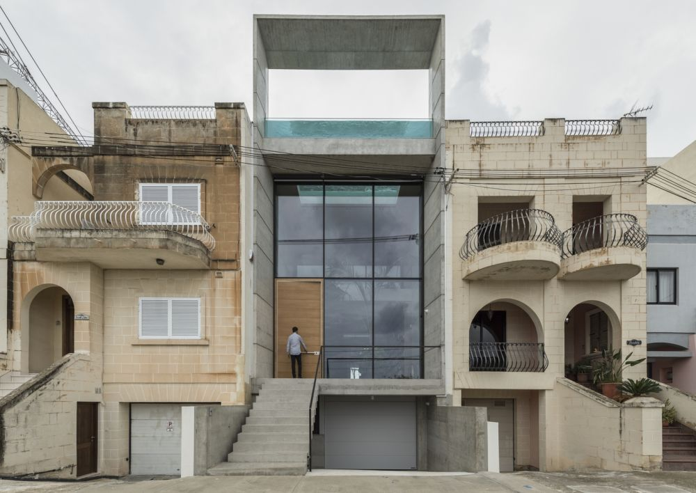 The project follows the demolition of an old terrace house in the San Julian region of Malta