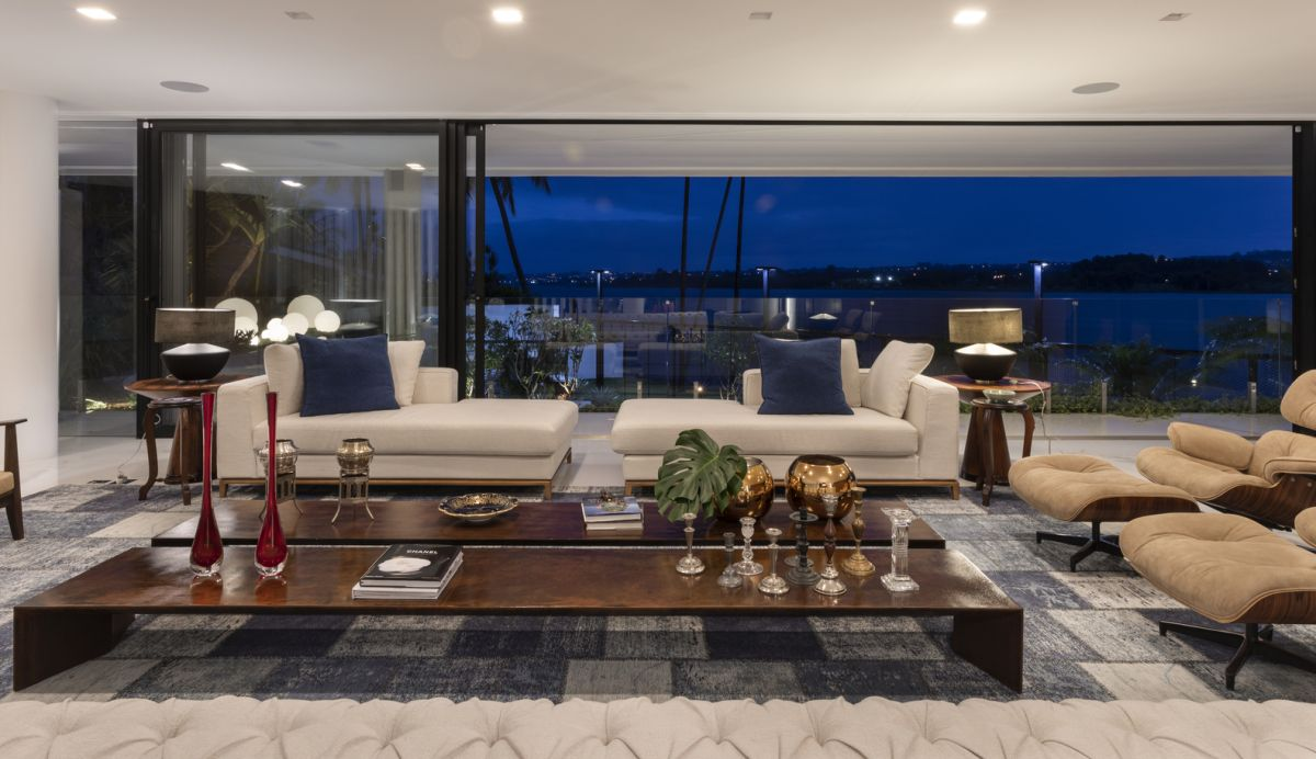 The living area on the ground floor offers a great view and the sliding glass doors make the most of it