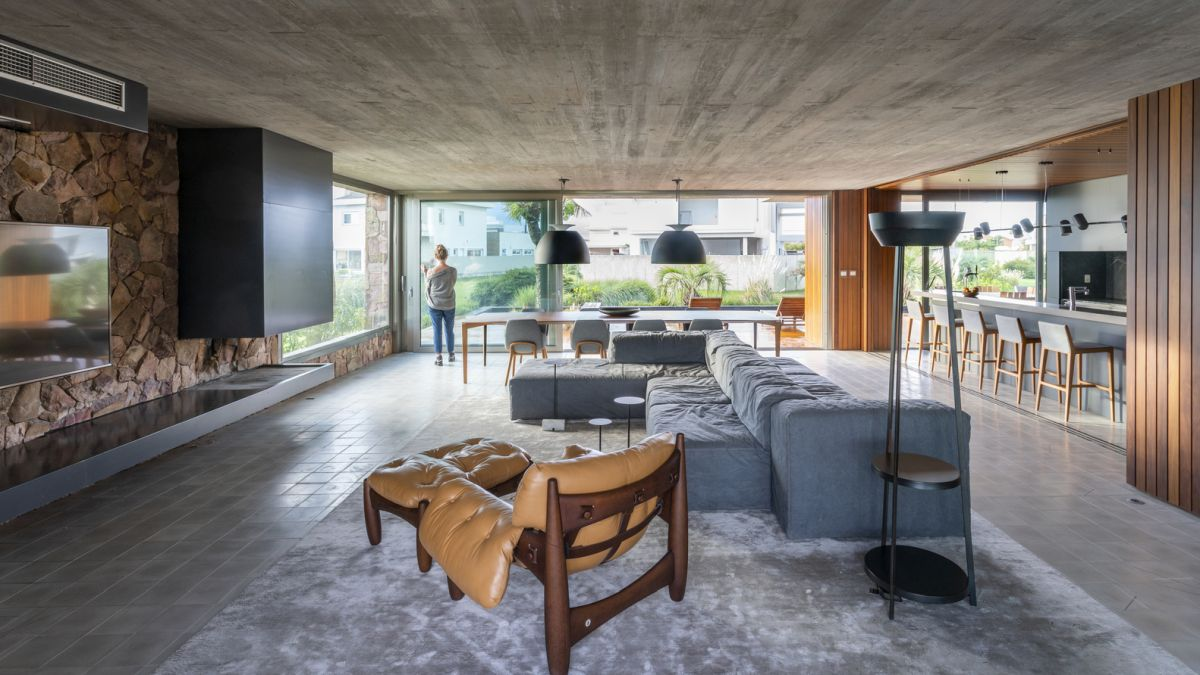 When the doors are open, the living room, kitchen and dining area become a single large volume